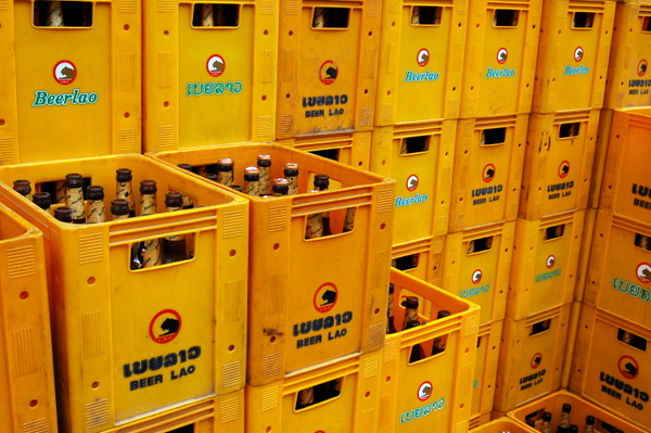 Yellow crates of Beerlao, a familiar sight in Laos
