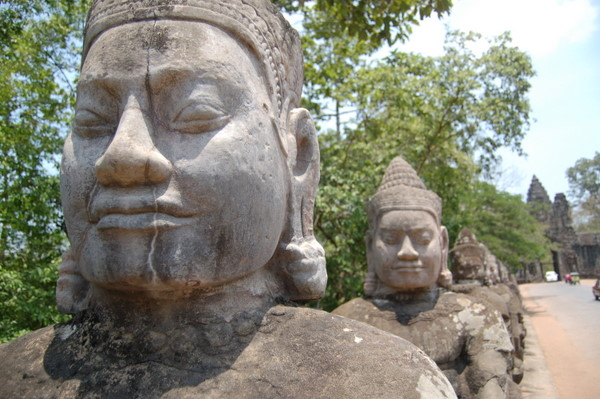 Gods at the south gate to Angkor Thom